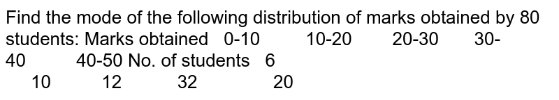 Find the mode of the following distribution of marks obtained by 80 students: Marks obtained 0-10 10-20 20-30 30-40 40-50 No. of students       6       10123220