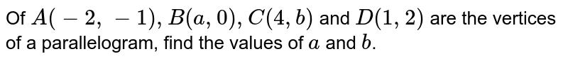 Of `A(-2,-1),``B(a ,0),``C(4, b)` and `D(1,2)` are the vertices of a parallelogram, find the values of `a` and `b`.