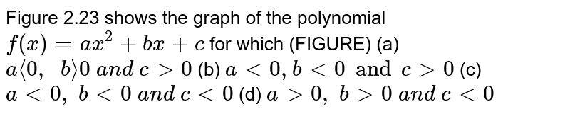 Figure 2.23 shows the graph of the polynomial `f(x)=a x^2+b x+c` for which (FIGURE) (a) `a<<0,\ \ b>>0\ a n d\ c >0`  (b) `a<0, blt0 and cgt0`  (c) `a<0,\ b<0\ a n d\ c<0`  (d) `a >0,\ b >0\ a n d\ c<0`