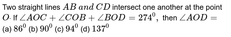 Two straight lines `A B\ a n d\ C D` intersect one another   at the point `Odot` If `/_A O C+/_C O B+/_B O D=274^0,` then `/_A O D=`  (a) `86^0`  (b) `90^0`  (c) `94^0`  (d) `137^0`