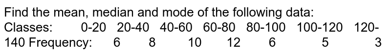 Find the mean, median and mode of the following data: Classes: 0-20 20-40   40-60 60-80 80-100   100-120 120-140 Frequency: 6 8 10 12 6 5 3
