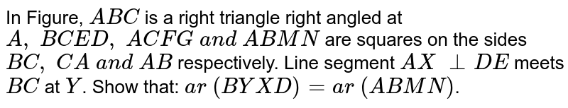 In Figure, `A B C` is a right   triangle right angled at `A ,\ B C E D ,\ A C F G\ a n d\ A B M N` are squares   on the sides `B C ,\ C A\ a n d\ A B` respectively. Line segment `A X\ _ _D E` meets `B C` at `Y`.  Show that:  `a r\ (B Y X D)=a r\ (A B M N)`.