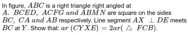 In figure, `A B C` is a right   triangle right angled at `A .\ B C E D ,\ A C F G\ a n d\ A B M N` are square   on the sides `B C ,\ C A\ a n d\ A B` respectively. Line segment `A X\ _ _D E` meets `B C` at `Y`. Show that:  `a r\ (C Y X E)=2a r(triangle \ F C B)`.
