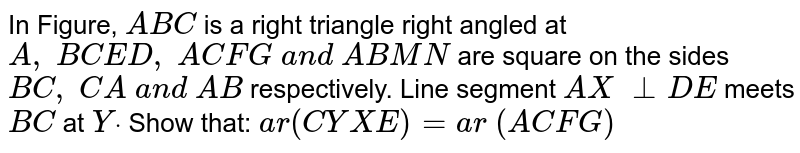 In Figure, `A B C` is a right   triangle right angled at `A ,\ B C E D ,\ A C F G\ a n d\ AB M N` are square   on the sides `B C ,\ C A\ a n d\ A B` respectively. Line segment `A X\ _ _D E` meets `B C` at `Ydot` Show that:  `a r(C Y X E)=a r\ (A C F G)`