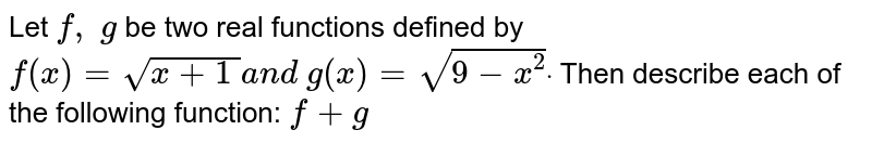 Let `f,\ g` be two real functions defined by `f(x)=sqrt(x+1\ )a n d\ g(x)=sqrt(9-x^2)dot` Then describe each of the following function: `f+g`