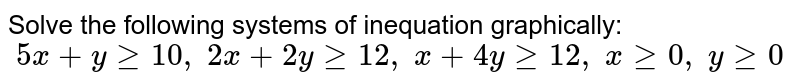 Solve the following systems of inequation graphically: `\ 5x+ygeq10 ,\ 2x+2ygeq12 ,\ x+4ygeq12 ,\ xgeq0,\ ygeq0`