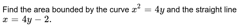 Find the area bounded by the curve `x^2=4y` and the straight line `x=4y-2.`