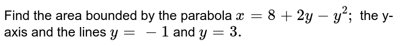 Find the area bounded by the parabola `x=8+2y-y^2;` the y-axis and the lines `y=-1` and `y=3.`