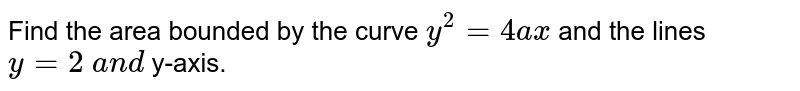 Find the area bounded by the curve `y^2=4a x` and the lines `y=2\ a n d\ ` y-axis.
