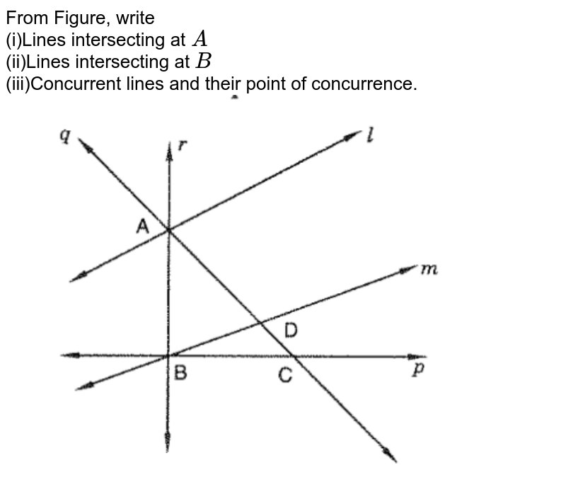 """From Figure, write<br> (i)Lines intersecting at `A`<br>  (ii)Lines intersecting at `B` <br> (iii)Concurrent lines and their point of concurrence.<br> <img src=""""https://d10lpgp6xz60nq.cloudfront.net/physics_images/VI_RD_10_002_Q01.png"""" width=""""80%"""">"""