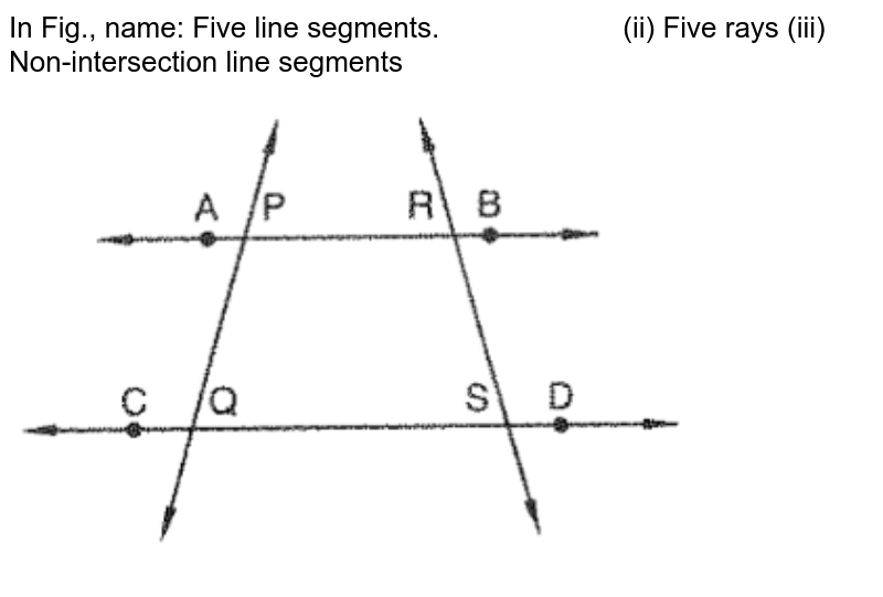 """In Fig., name: Five line segments. (ii) Five rays (iii)  Non-intersection line segments<br> <img src=""""https://d10lpgp6xz60nq.cloudfront.net/physics_images/VI_RD_10_033_Q01.png"""" width=""""80%"""">"""