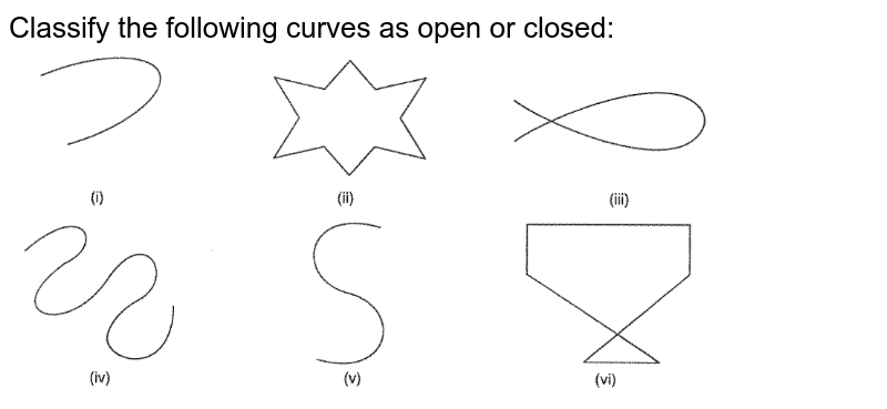 """Classify the following curves as open or closed: <br> <img src=""""https://d10lpgp6xz60nq.cloudfront.net/physics_images/VI_RD_10_040_Q01.png"""" width=""""80%"""">"""
