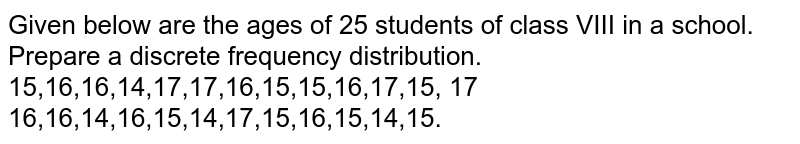 Given below are the ages of 25 students of   class VIII in a school. Prepare a discrete frequency distribution. 15,16,16,14,17,17,16,15,15,16,17,15, 17 16,16,14,16,15,14,17,15,16,15,14,15.