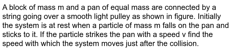 A block of mass m and a pan of equal mass are connected by a string going over a smooth light pulley as shown in figure. Initially the system is at rest when a particle of mass m falls on the pan and sticks to it. If the particle strikes the pan with a speed v find the speed with which the system moves just after the collision.