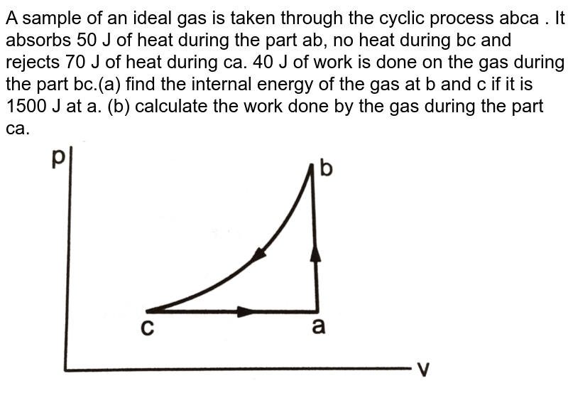 """A sample of an ideal gas is taken through the cyclic process abca . It absorbs 50 J of heat during the part ab, no  heat during bc and rejects 70 J of heat during ca. 40 J of work is done on the gas  during the part bc.(a) find the internal energy of  the gas at b and c if it is 1500 J at a. (b) calculate the work done by the gas during the part ca. <br> <img src=""""https://d10lpgp6xz60nq.cloudfront.net/physics_images/HCV_VOL2_C26_S01_003_Q01.png"""" width=""""80%"""">"""