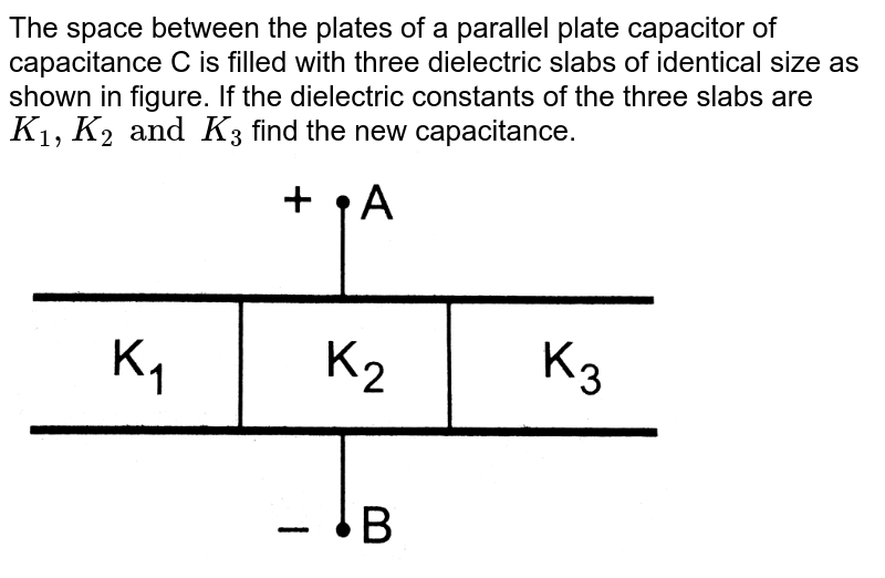 """The space between the plates of a parallel  plate capacitor of capacitance C is filled with three dielectric slabs of identical size as shown in figure. If the dielectric constants of the three slabs are `K_1  , K_2 and K_3` find the new capacitance. <br> <img src=""""https://d10lpgp6xz60nq.cloudfront.net/physics_images/HCV_VOL2_C31_S01_028_Q01.png"""" width=""""80%"""">"""