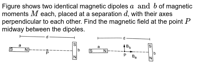 """Figure shows two identical magnetic dipoles `a and b` of magnetic moments `M` each, placed at a separation `d`, with their axes perpendicular to each other. Find the magnetic field at the point `P` midway between the dipoles. <br> <img src=""""https://d10lpgp6xz60nq.cloudfront.net/physics_images/HCV_VOL2_C36_S01_014_S01.png"""" width=""""80%"""">"""