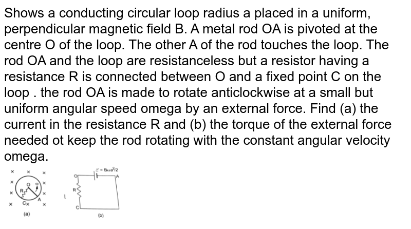 """Shows a conducting circular loop radius a placed in a uniform, perpendicular magnetic field B. A metal rod OA is pivoted at the centre  O of the loop. The other A of the rod touches the loop. The rod OA and the loop are resistanceless but a resistor having a resistance R is connected between O and a fixed point C on the loop .  the rod OA is made to rotate anticlockwise at a small but uniform angular speed omega by an external force. Find (a) the current in the resistance R and (b) the torque of the external force needed ot keep the rod rotating with the constant angular velocity omega.  <br> <img src=""""https://d10lpgp6xz60nq.cloudfront.net/physics_images/HCV_VOL2_C38_S01_026_Q01.png"""" width=""""30%"""">"""