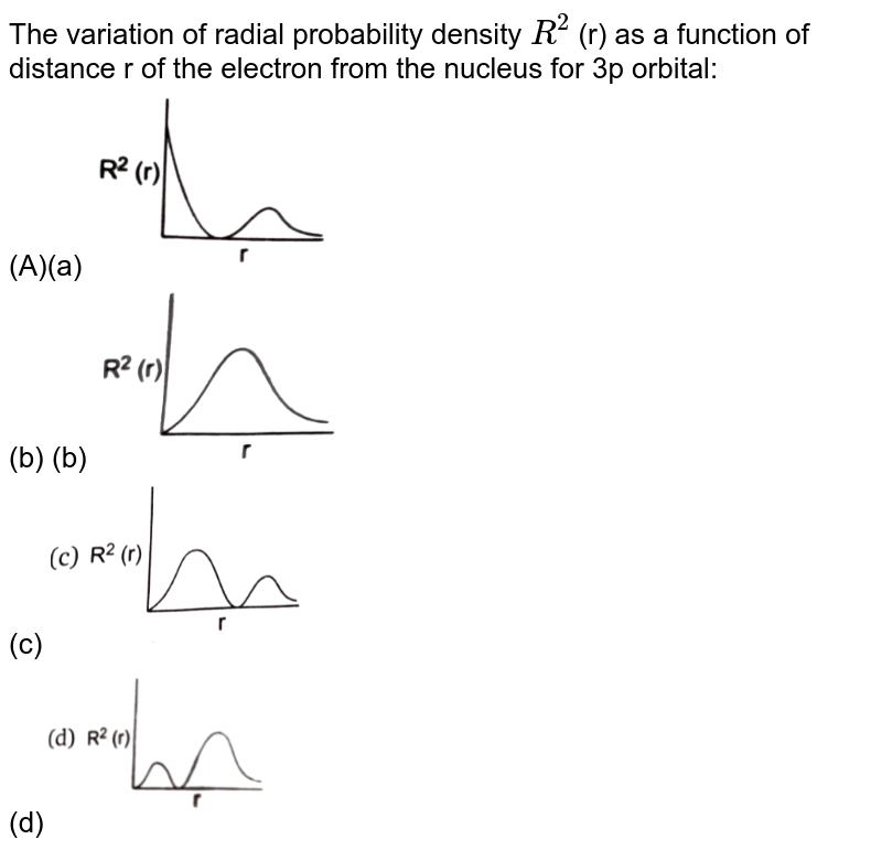 """The  variation of radial probability density `R^2` (r) as a function of distance r of the electron from the nucleus for 3p orbital: <br>(A)(a) <img src=""""https://d10lpgp6xz60nq.cloudfront.net/physics_images/NRA_PHY_CHM_JMA_C02_E01_141_O01.png"""" width=""""30%""""> <br>(b) (b) <img src=""""https://d10lpgp6xz60nq.cloudfront.net/physics_images/NRA_PHY_CHM_JMA_C02_E01_141_O02.png"""" width=""""30%""""> <br>(c) <img src=""""https://d10lpgp6xz60nq.cloudfront.net/physics_images/NRA_PHY_CHM_JMA_C02_E01_141_O03.png"""" width=""""30%""""> <br>(d)<img src=""""https://d10lpgp6xz60nq.cloudfront.net/physics_images/NRA_PHY_CHM_JMA_C02_E01_141_O04.png"""" width=""""30%"""">"""