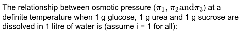 """The relationship between osmotic pressure (`pi_(1),pi_(2) """"and"""" pi_(3)`) at a definite  temperature  when 1 g glucose, 1 g urea and 1 g sucrose are dissolved in 1 litre of water  is (assume i = 1 for all):"""