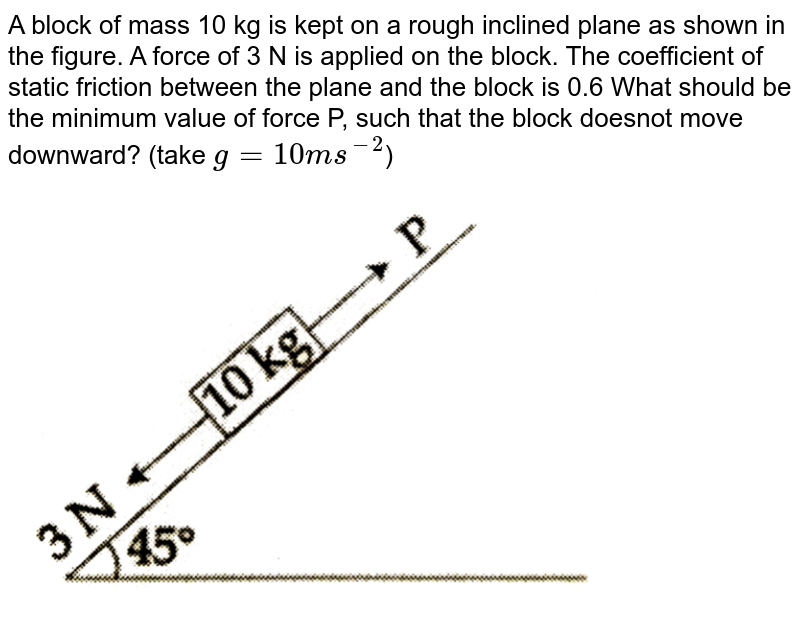"""A block of mass 10 kg is kept on a rough inclined plane as shown in the figure. A force of 3 N is applied on the block. The coefficient of static friction between the plane and the block is 0.6 What should be the minimum value of force P, such that the block doesnot move downward? (take `g=10ms^(-2)`) <br> <img src=""""https://d10lpgp6xz60nq.cloudfront.net/physics_images/JMA_2019_PC_IEH_09_JAN_I_E01_023_Q01.png"""" width=""""80%"""">"""