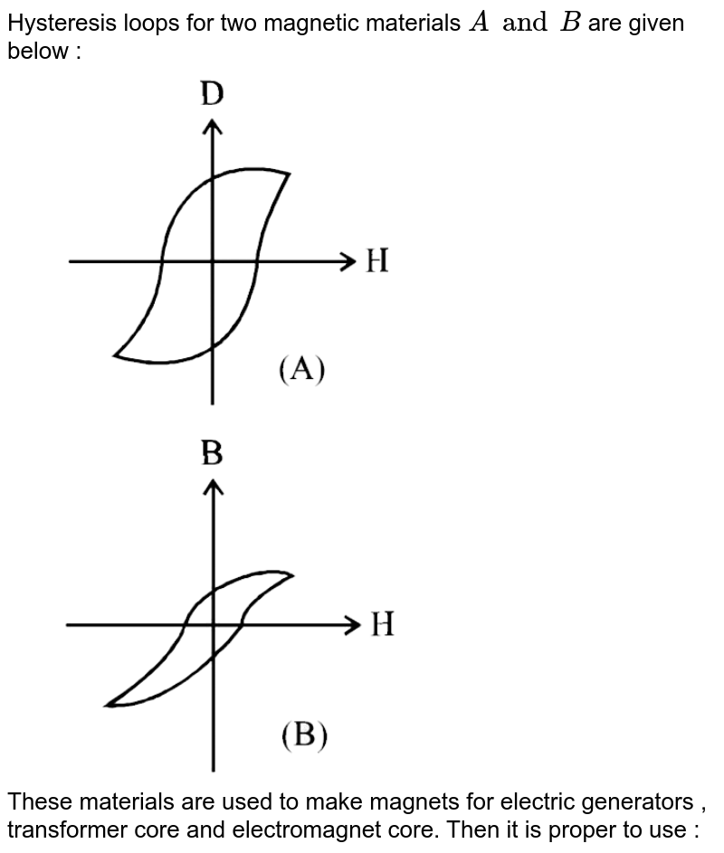 """Hysteresis loops for two magnetic materials `A and B` are given below :  <br> <img src=""""https://d10lpgp6xz60nq.cloudfront.net/physics_images/JMA_MCM_C14_132_Q01.png"""" width=""""80%""""> <br> <img src=""""https://d10lpgp6xz60nq.cloudfront.net/physics_images/JMA_MCM_C14_132_Q02.png"""" width=""""80%""""> <br> These materials are used to make magnets for electric generators , transformer core and electromagnet core. Then it is proper to use :"""