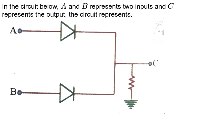 """In the circuit below, `A` and `B` represents two inputs and `C` represents the output, the circuit represents. <br> <img src=""""https://d10lpgp6xz60nq.cloudfront.net/physics_images/NAR_PHY_XII_V05_C04_E01_202_Q01.png"""" width=""""80%"""">."""