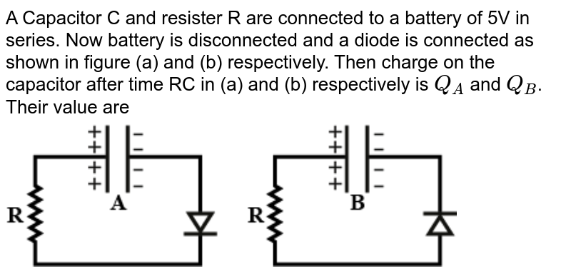 """A Capacitor C and resister R are connected to a battery of 5V in series. Now battery is disconnected and a diode is connected as shown in figure (a) and (b) respectively. Then charge on the capacitor after time RC in (a) and (b) respectively is `Q_A` and `Q_B`. Their value are <img src=""""https://haygot.s3.amazonaws.com/questions/1697334_a24e57ee488a46709762e34fda397518.png"""" width=""""80%"""">"""