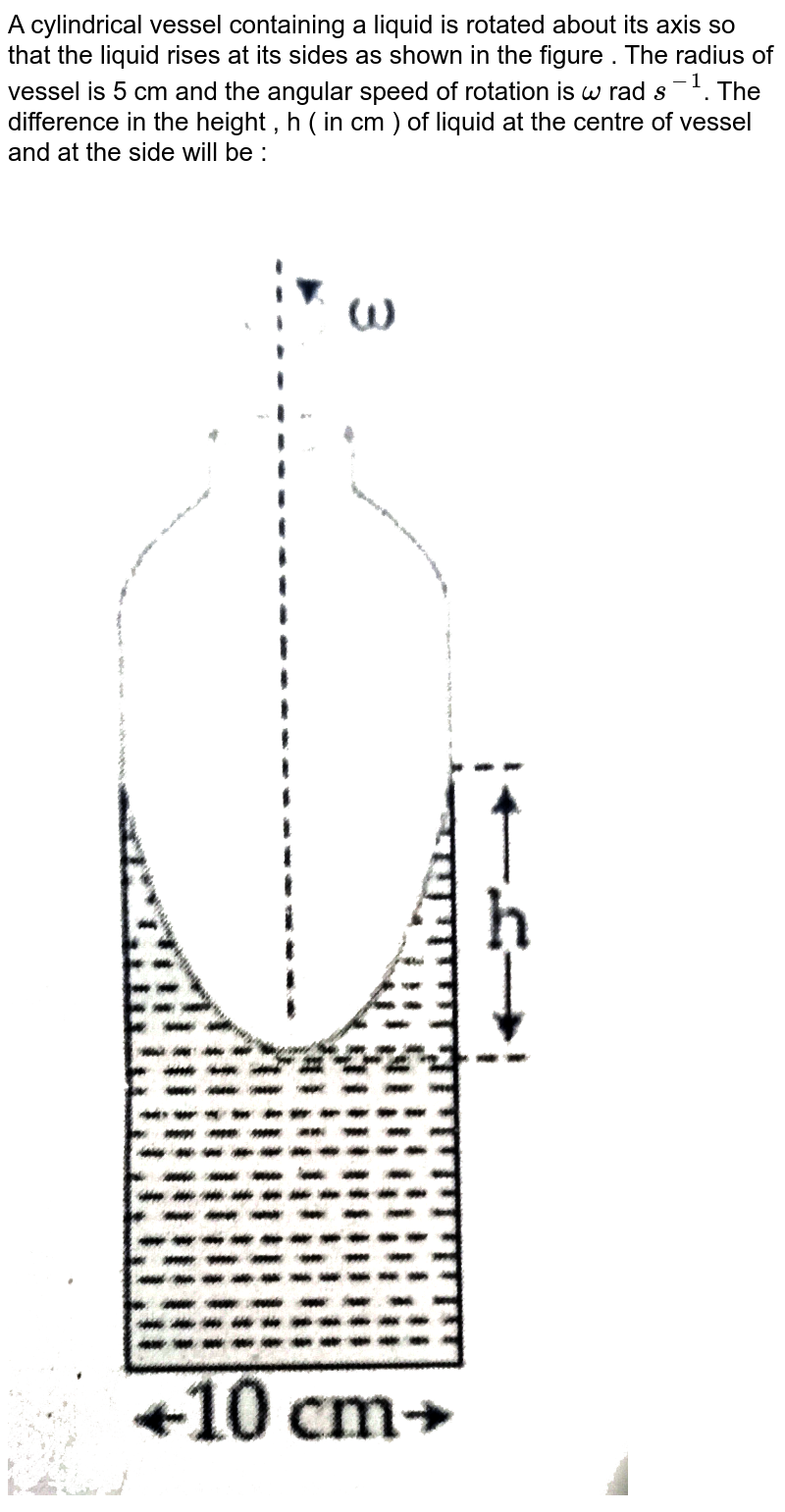 """A cylindrical vessel containing  a liquid  is rotated  about its axis so that the liquid  rises  at its sides as shown in the figure  . The radius of vessel is 5 cm and the angular  speed  of rotation is ` omega` rad `s^(-1)`. The difference  in the height  , h ( in cm ) of liquid  at the centre  of vessel and at the side will be : <br> <img src=""""https://d10lpgp6xz60nq.cloudfront.net/physics_images/JE_MAIN_06_09_20_S1_E01_003_Q01.png"""" width=""""80%"""">"""