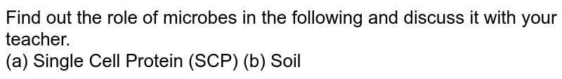 Find out the role of microbes in the following and discuss it with your teacher.   <br>  (a) Single Cell Protein (SCP) (b) Soil