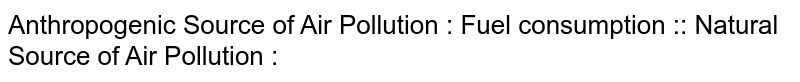 Anthropogenic Source of Air Pollution : Fuel consumption :: Natural Source of Air Pollution :