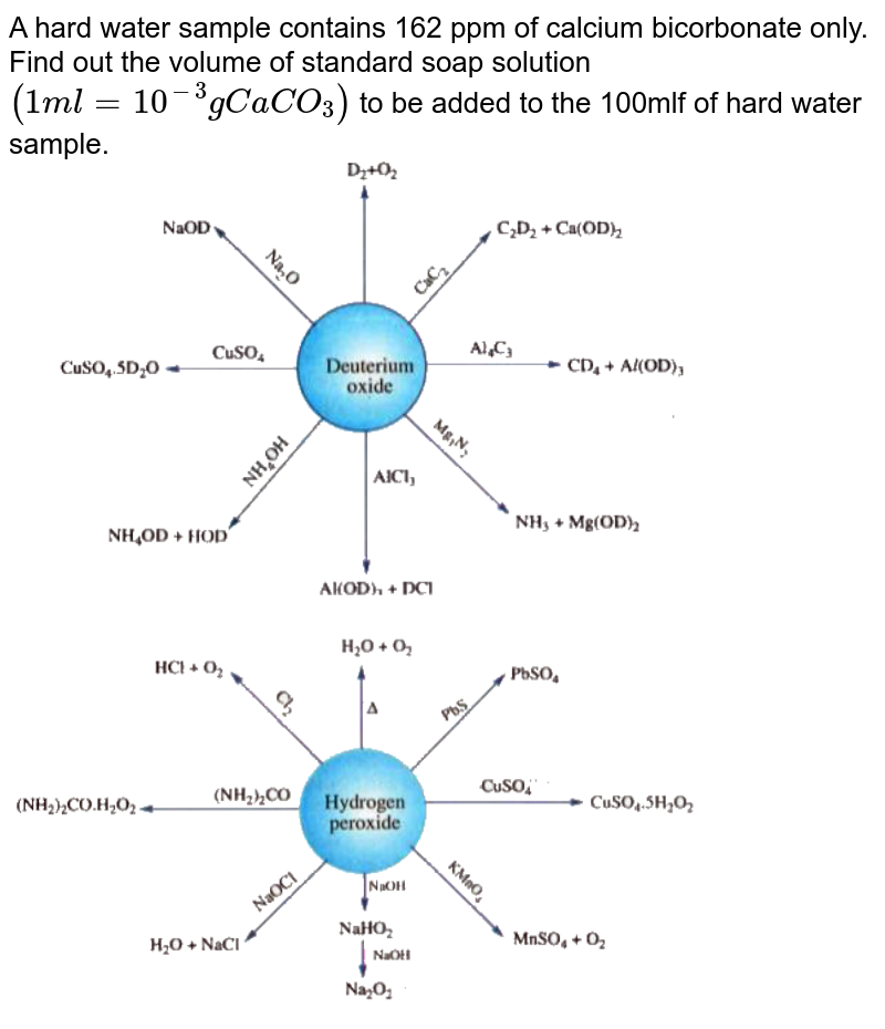"""A hard water sample contains 162 ppm of calcium bicorbonate only. Find out the volume of standard soap solution `(1 ml =10^(-3) g CaCO_(3))` to be added to the 100mlf of hard water sample. <br> <img src=""""https://doubtnut-static.s.llnwi.net/static/physics_images/AKS_ELT_AI_CHE_XI_V01_C_C01_E04_005_Q01.png"""" width=""""80%""""> <br> <img src=""""https://doubtnut-static.s.llnwi.net/static/physics_images/AKS_ELT_AI_CHE_XI_V01_C_C01_E04_005_Q02.png"""" width=""""80%"""">"""