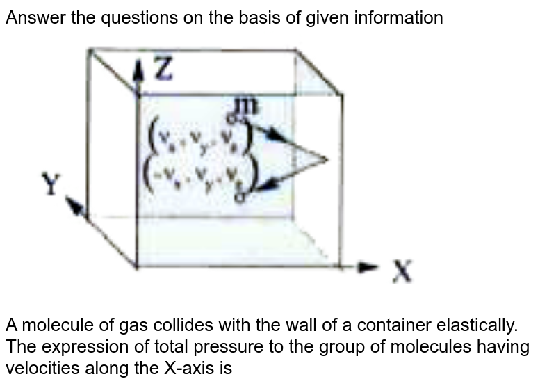 """Answer the questions on the basis of given information <br> <img src=""""https://doubtnut-static.s.llnwi.net/static/physics_images/AKS_DOC_OBJ_PHY_XI_V01_C_C14_E03_021_Q01.png"""" width=""""80%""""> <br>A molecule of gas collides with the wall of a container elastically. <br>The expression of total pressure to the group of molecules having velocities along the X-axis is"""