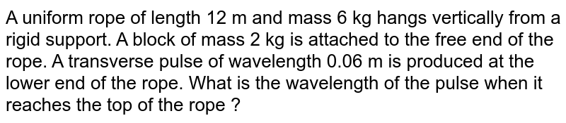 A uniform rope of length 12 m and mass 6 kg hangs vertically from a rigid support. A block of mass 2 kg is attached to the free end of the rope. A transverse pulse of wavelength 0.06 m is produced at the lower end of the rope. What is the wavelength of the pulse when it reaches the top of the rope ?