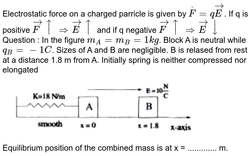"""Electrostatic force on a charged parricle is given by `overset(.)F=qvec(E)`. If q is positive `vec(F)uarrrArrvec(E)uarr` and if q negative `vec(F) uarr rArr vec(E ) darr` <br> Question : In the figure `m_(A) = m_(B) =1kg`. Block  A is neutral while `q_(B) = - 1C`. Sizes of A and B are negligible. B is relased from rest at a distance 1.8 m from A. Initially spring is neither compressed nor elongated <br> <img src=""""https://doubtnut-static.s.llnwi.net/static/physics_images/AKS_TRG_AO_PHY_XII_V02_A_C01_E01_029_Q01.png"""" width=""""80%""""> <br> Equilibrium position of the combined mass is at x = ............. m."""