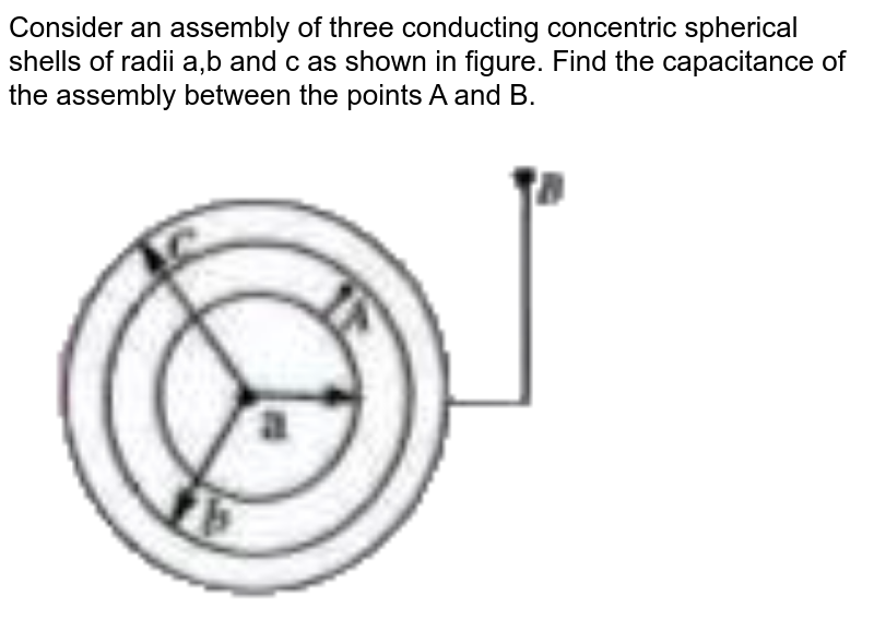 """Consider an assembly of three conducting concentric spherical shells of radii a,b and c as shown in figure. Find the capacitance of the assembly between the points A and B. <br> <img src=""""https://doubtnut-static.s.llnwi.net/static/physics_images/AKS_TRG_AO_PHY_XII_V02_A_C02_E01_077_Q01.png"""" width=""""80%"""">"""