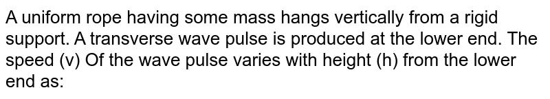 A uniform rope having some mass hangs vertically from a rigid support. A transverse wave pulse is produced at the lower end. The speed (v) Of the wave pulse varies with height (h) from the lower end as: