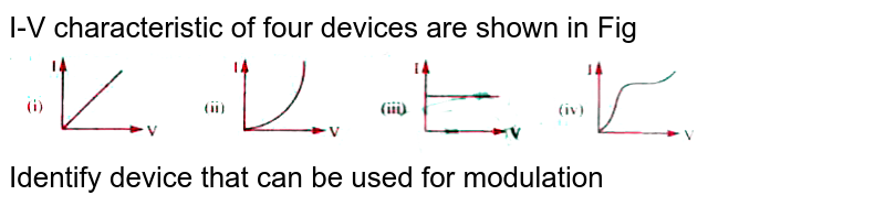 """I-V characteristic of four devices are shown in Fig <br> <img src=""""https://doubtnut-static.s.llnwi.net/static/physics_images/AKS_TRG_AO_PHY_XII_V02_D_C04_E01_094_Q01.png"""" width=""""80%""""> <br> Identify device that can be used for modulation"""