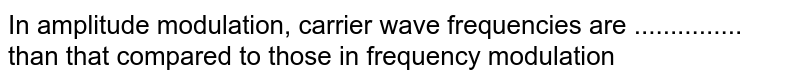 In amplitude modulation, carrier wave frequencies are ............... than that compared to those in frequency modulation