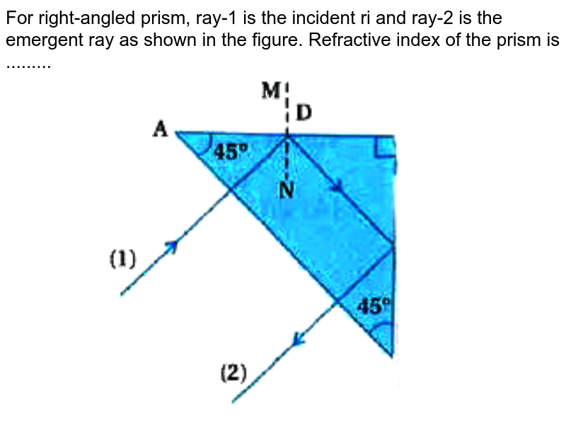 """For right-angled prism, ray-1 is the incident ri and ray-2 is the emergent ray as shown in the figure. Refractive index of the prism is .........  <br>  <img src=""""https://doubtnut-static.s.llnwi.net/static/physics_images/KPK_AIO_PHY_XII_P2_C09_E04_064_Q01.png"""" width=""""80%"""">"""