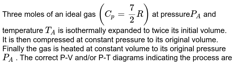 Three moles of an ideal gas `(C_p = 7/2 R)`  at pressure` P_A` and temperature `T_A`  is isothermally expanded to twice its initial volume. It is then compressed at constant pressure to its original volume. Finally the gas is heated at constant volume to its original pressure `P_A` . The correct P-V and/or P-T diagrams indicating the process are