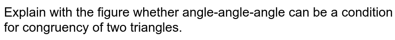Explain with the figure whether angle-angle-angle can be a condition for congruency of two triangles.