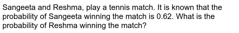 Sangeeta and Reshma, play a tennis match. It is known that the probability of Sangeeta winning the match is 0.62. What is the probability of Reshma winning the match?