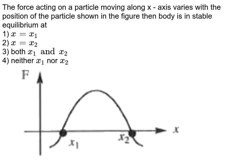 """The force acting on a particle moving along  x - axis varies with the position of the particle shown in the figure then body is in stable equilibrium at <br> 1) `x = x_(1)` <br> 2) `x = x_(2)` <br> 3) both `x_(1) and x_(2)` <br> 4) neither `x_(1)` nor `x_(2)` <br> <img src=""""https://doubtnut-static.s.llnwi.net/static/physics_images/AKS_NEO_CAO_PHY_XI_V01_MP2_C06_SLV_072_Q01.png"""" width=""""80%"""">"""