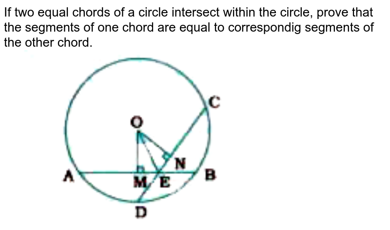 """If two equal chords of a circle intersect within the circle, prove that the segments of one chord are equal to correspondig segments of the other chord. <br> <img src=""""https://doubtnut-static.s.llnwi.net/static/physics_images/NVT_MAT_IX_C10_E04_002_Q01.png"""" width=""""80%"""">"""