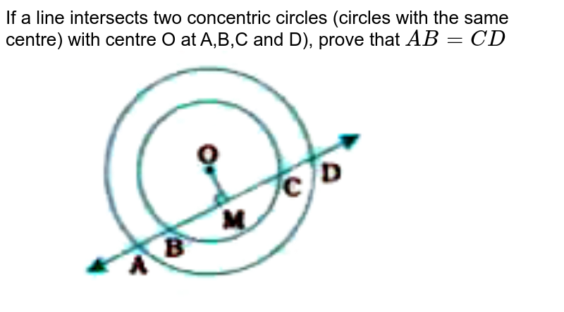 """If a line intersects two concentric circles (circles with the same centre) with centre O at A,B,C and D), prove that `AB= CD ` <br> <img src=""""https://doubtnut-static.s.llnwi.net/static/physics_images/NVT_MAT_IX_C10_E04_004_Q01.png"""" width=""""80%"""">"""