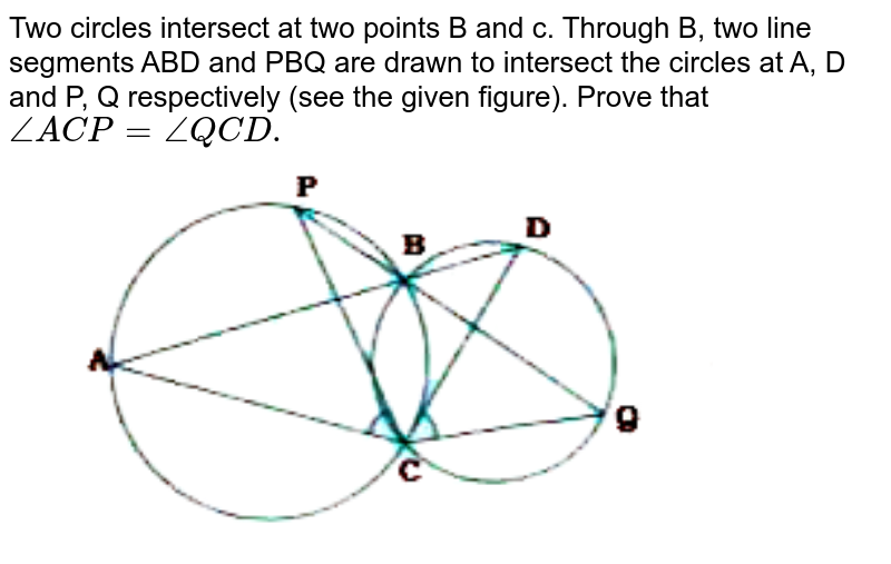 """Two circles intersect at two points B and c. Through B, two line segments ABD and PBQ are drawn to intersect the circles at A, D and P, Q respectively (see the given figure). Prove that `angle ACP = angle QCD.`<br> <img src=""""https://doubtnut-static.s.llnwi.net/static/physics_images/NVT_MAT_IX_C10_E05_009_Q01.png"""" width=""""80%"""">"""
