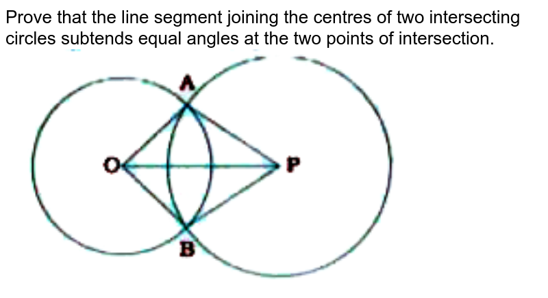 """Prove that the line segment joining the centres of two intersecting circles subtends equal angles at the two points of intersection.<br> <img src=""""https://doubtnut-static.s.llnwi.net/static/physics_images/NVT_MAT_IX_C10_E06_001_Q01.png"""" width=""""80%"""">"""