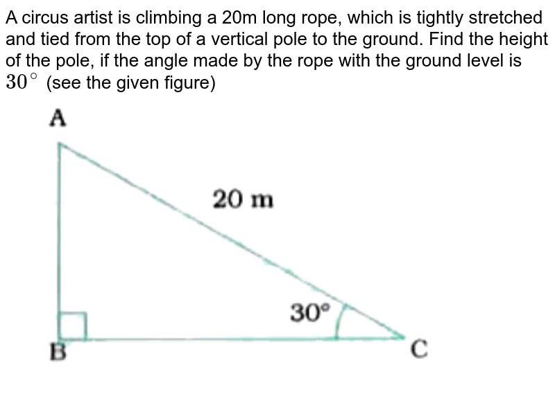 """A circus artist is climbing a 20m long rope, which is tightly stretched and tied from the top of a vertical pole to the ground. Find the height of the pole, if the angle made by the rope with the ground level is `30^(@)` (see the given figure) <br> <img src=""""https://doubtnut-static.s.llnwi.net/static/physics_images/NVT_MAT_X_P2_C09_E01_001_Q01.png"""" width=""""80%"""">"""