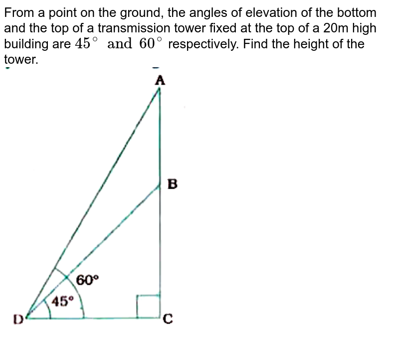 """From a point on the ground, the angles of elevation of the bottom and the top of a transmission tower fixed at the top of a 20m high building are `45^(@) and 60^(@)` respectively. Find the height of the tower. <br> <img src=""""https://doubtnut-static.s.llnwi.net/static/physics_images/NVT_MAT_X_P2_C09_E01_007_Q01.png"""" width=""""80%"""">"""